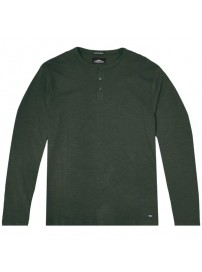 TS-107 Double T-shirt Henley Flama Washed (dk olive)