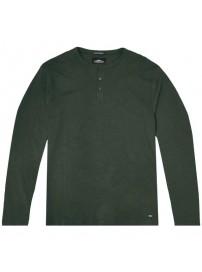 TS-107A Double T-shirt Henley Flama Washed (μεγάλα μεγέθη)(dk olive)