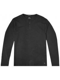TS-107VA Double T-shirt Henley Flama Washed (μεγάλα μεγέθη)(black)
