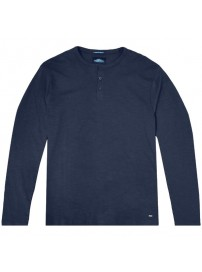 TS-107 Double T-shirt Henley Flama Washed (navy)