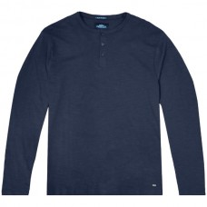 TS-107VA Double T-shirt Henley Flama Washed (μεγάλα μεγέθη)(navy)