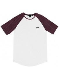 TS-119A Double T-shirt Reglan (μεγάλα μεγέθη) Χρώμα Λευκό/Μπορντώ