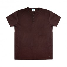 TS-84A Double T-Shirt Henley Flama (μεγάλα μεγέθη)(wine)