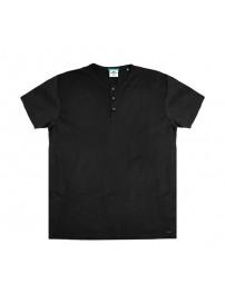 TS-84VA Double T-Shirt Henley Flama (μεγάλα μεγέθη)(black)